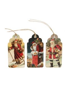 Set of Retro Vintage Father Christmas Gift Tags