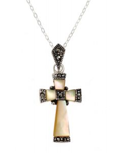 Marcasite Shell Cross Necklace