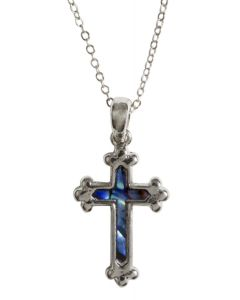 Silver and Blue Cross Necklace