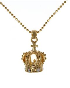 Small Gold Crown Necklace with Crystals