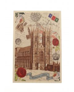 Vintage Westminster Abbey Wooden Postcard