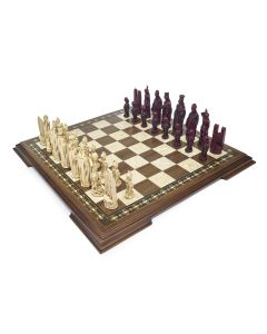 Burgundy and Cream Chess Set and Board