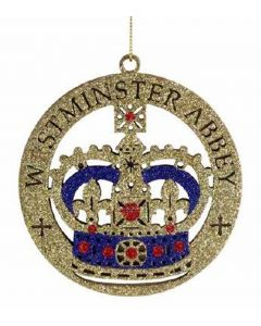 Westminster Abbey Golden Glitter Crown Disc Decoration