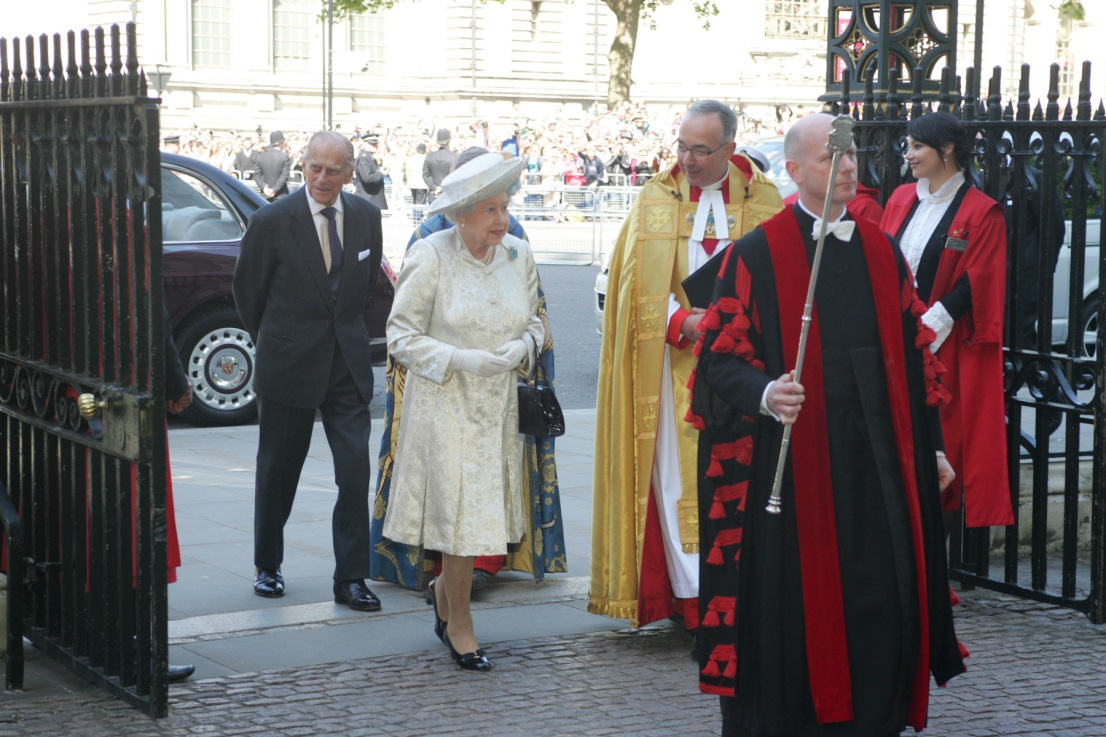 Queen Elizabeth II arriving at Coronation Anniversary Service